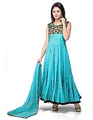 Utsav Fashion Women's Turquoise Blue Cotton Readymade Abaya Churidar Kameez-Medium