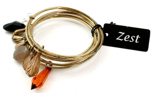 Zest Set of Gold Bangles with Amber Brown Mix Faceted Gems