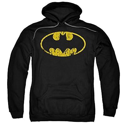 DC Batman Classic Logo Distressed Pull Over Hoodie