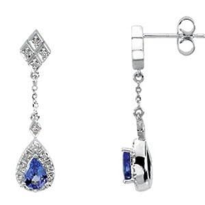 IceCarats Designer Jewelry Genuine Tanzanite And Diamond Earrings 14K White Gold
