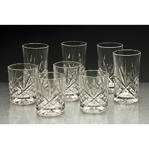 "Godinger Set Of 8 ""Dublin"" Double Old-Fashioned And Highballs"