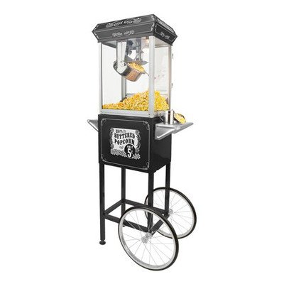 FunTime Sideshow Popper 8-Ounce Hot Oil Popcorn Machine with Cart, Black/Gold (Gold Metal Popcorn Kit compare prices)