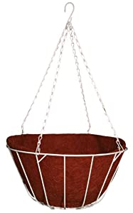 Robert Allen Home and Garden Chateau Hanging Basket with White Wire, 16-Inch, Red