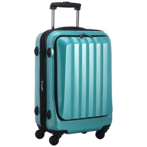 容量アップ拡張ジッパー付フロントオープンスーツケース グリーン
