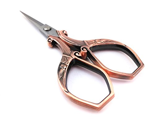 yueton Vintage Plumage Corner Angle Handle Needlework Embroidery Scissors (Copper) 3
