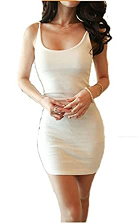 Amazon.com: Fire Loli Women's Jersey Tank Dress White, X-Large
