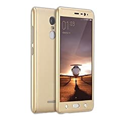 YGS iPAKY All-round Protective Slim Fit Case Cover Front and Back with Tempered Glass Screen Protector For Xiaomi RedMi Note3 -Gold