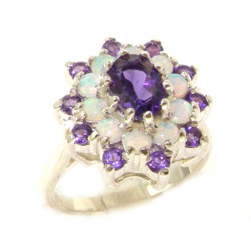 Fabulous Solid Sterling Silver Natural Amethyst & Fiery Opal 3 Tier Large Cluster Ring - Size 12 - Finger Sizes 5 to 12 Available - Suitable as an Anniversary ring, Engagement ring, Eternity ring, or Promise ring