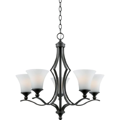 B0035Q4SEU Quoizel SR5005IN Sarah 5-Light Chandelier with Opal Etched Glass Shades, Iron Gate