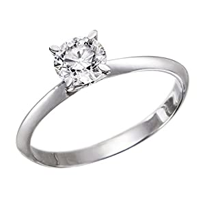IGI Certified 14k white-gold Round Cut Diamond Engagement Ring (0.52 cttw, K Color, VS2 Clarity) - size 9
