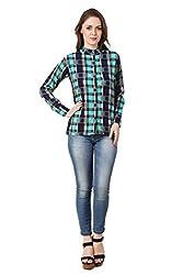 Binny Creation Women's Green Blue Casual Shirt