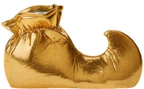 "Adult Gold Jester Costume Shoes Medium (11"" long)"