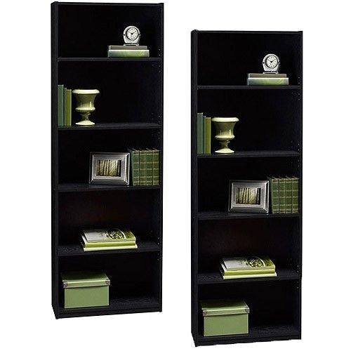 Ameriwood Set of 2 (Bundle) 5-shelf Bookcases. Choice of White, Black, Espresso, Ruby Red and Alder. Adjustable Shelves, Decorative and Contemporary. Harmonizes Well with Most Decor Styles. Use in Living Room, Family Room, Home Office, Work Office, or Any Room. (Black) 2 Shelf 5 Shelf Bookcase