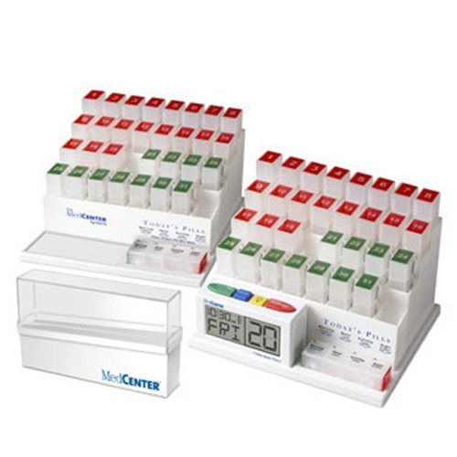Medcenter Deluxe 2-31 Day Pill Organizer / Storage With 4 Alarm Reminder Clock