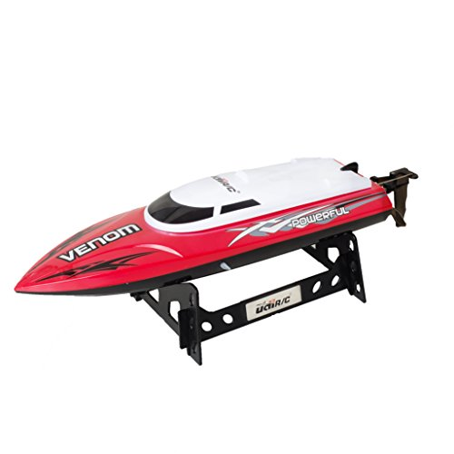 UDI001 Venom Remote Control Boat for Pools, Lakes and Outdoor Adventure - 2.4GHz High Speed Electric RC - includes BONUS BATTERY (*Doubles Racing Time*) - Exclusive Red Color