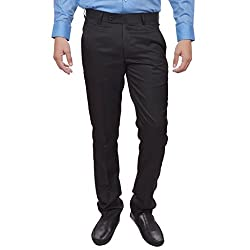 Sangam Apparels Slim Fit Mens Black Formal Trousers