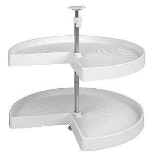 Hafele 2 Shelf 28 inch Diameter Kidney Shelf Set with Reinforced Ribs in White