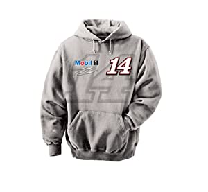 NASCAR Tony Stewart #14 Mobil One Straight Away Hooded Sweatshirt - Grey by Checkered Flag