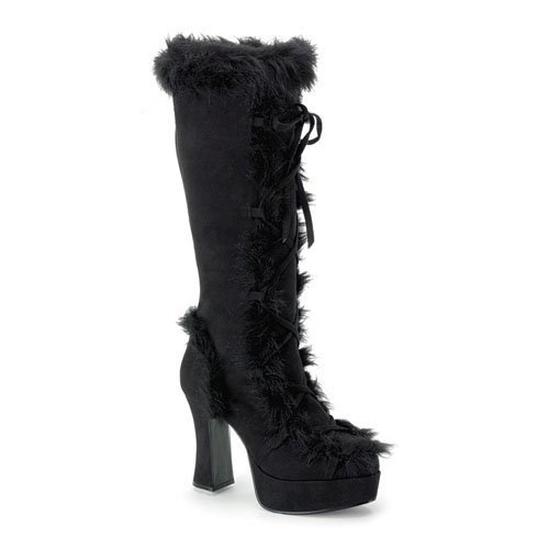 High Heel Boots Womens Platform 4'' Black Microfiber