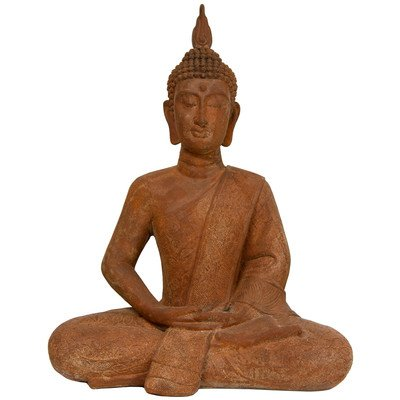 Oriental Furniture 24-Inch Thai Sitting Zenjo-In Iron Look Buddha Statue front-443980