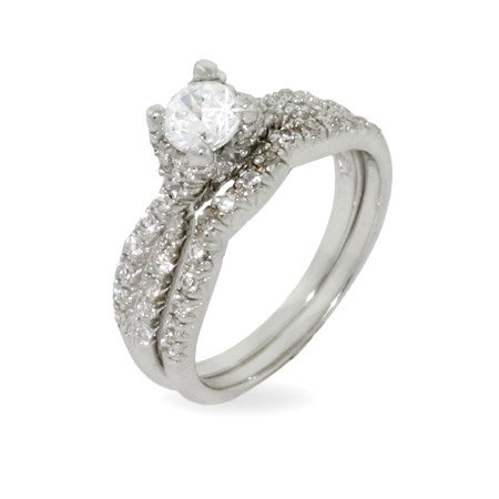 Elegant Engagement Ring Set in Sparkling Twist Design Size 9 (Sizes 6 8 9 Available)