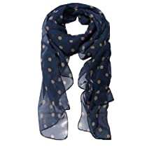 niceeshop(TM) Fashion Charming Beautiful Beige Polka Dot Warm Scarf Wrap Women Lady Girl Shawl-Navy Blue