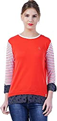 TSAVO Women's Regular Fit Top (1552_RED, Red, Small)