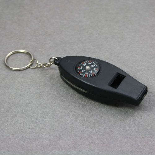 MOGOI(TM) 5 In 1 Compass Thermometer Amplifier Whistle Key Ring With MOGOI Accessory