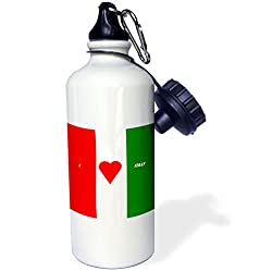 3dRose wb_51525_1 I Luv Italy Sports Water Bottle, 21 oz, White