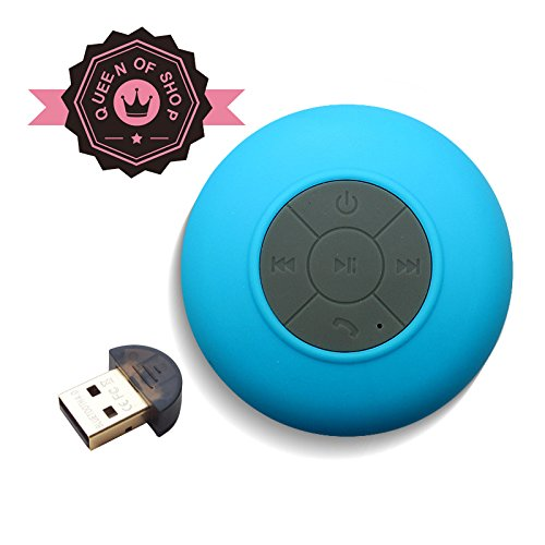 Bts06 Blue Mini Ultra Portable Waterproof Bluetooth Wireless Stereo Speakers With Suction Cup For Showers, Bathroom, Pool, Boat, Car, Beach, Outdoor Etc. | For All Devices With Bluetooth Capability + Siri Compatible - 6 Hours Playtime / With Built-In Mic