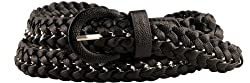 Womens Designer Inspired Black Braided Belt XLarge