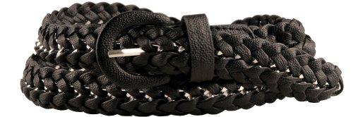 Womens Designer Inspired Black Braided Belt Small