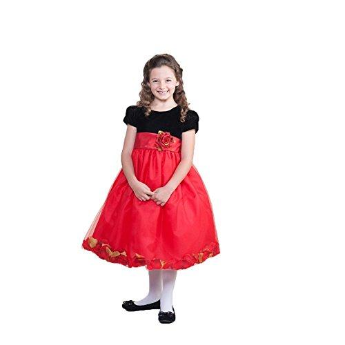 Crayon Kids Little Girls Red Floral Petals Christmas Dress 3T front-586379