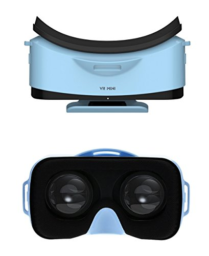 "* Mini * 3D VR Headset Glasses Virtual Reality for iPhone 6s/6 Plus/6/5S/5C/5 Samsung Galaxy S5/S6/Note4/Note5 & Other 4.7""-6.0"" Cellphones (Blue)"