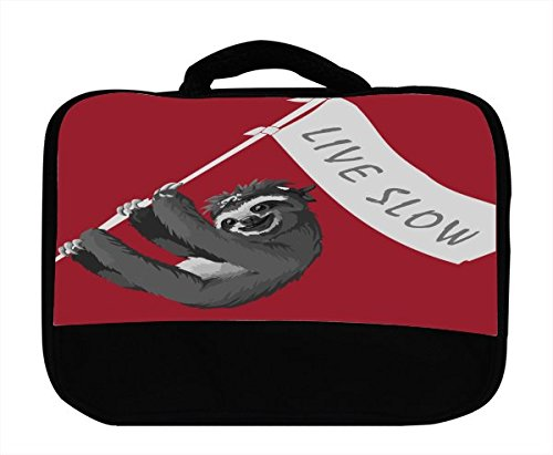Sloth Pirate Live Slow Flag Banner Red Background Canvas Lunch Bag by Moonlight Printing (Slow Flag compare prices)
