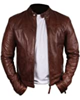 PRLWRS Bomber Rider Slim Fit Casual Stylish Brown Real Leather Jacket