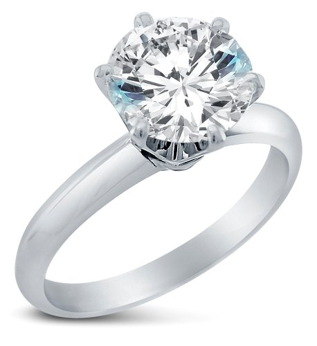 Size 6.5 - Solid 925 Sterling Silver Classic Traditional Round Brilliant Cut Solitaire Highest Quality Cz Cubic Zirconia Engagement Ring 1.0Ct. With Elegant Velvet Ring Box