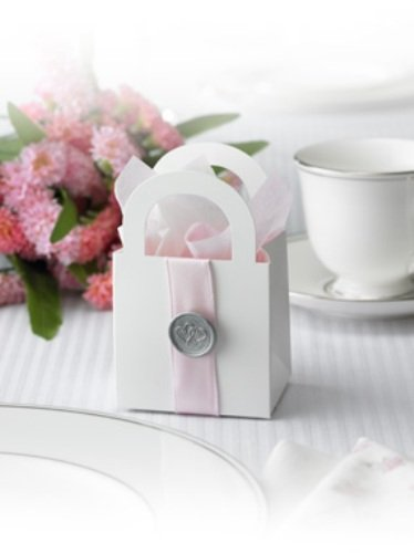 Gartner Studios Wedding Favor Boxes, White with Pink Ribbon, 50-Count (65654)