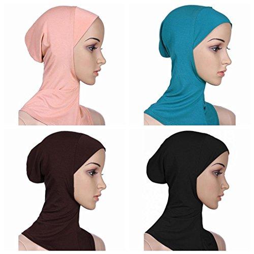 Ksweet 4 Pack Hijab Style Sciarpe Turbante Islamico da Donna Sottosciarpa Underscarf Copre il collo (multicoloured-02)