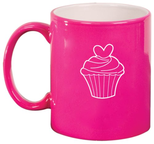 Valentine Heart Cupcake Ceramic Coffee Tea Mug Cup Hot Pink