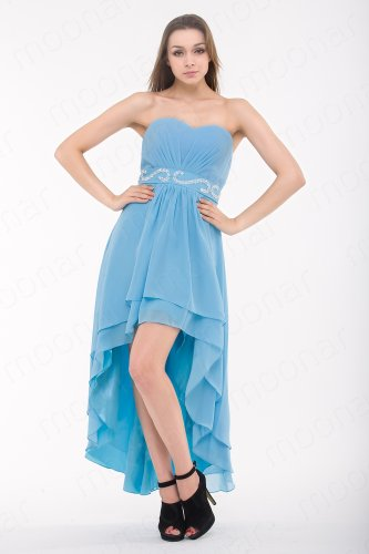 Moonar Chiffon Strapless Sweetheart Asymmetrical Prom Formal Gown Party Bridesmaid Wedding Dress