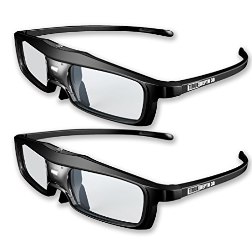 True Depth 3D® NEW Firestorm LT Lightweight Rechargeable DLP link 3D Glasses for All 3D Projectors (Benq, Optoma, Acer, Vivitek, Dell Etc) and All DLP HD 3D TVs (Mitsubishi, Samsung Etc) Compatible At 96 Hz, 120 Hz and 144 Hz! (2 Pairs!)
