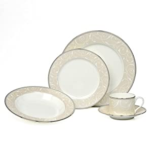 Mikasa Elegant Scroll Pearl 5 Piece Place Setting