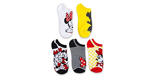 NEW-ITEM-Disney-Minnie-Mouse-Ladies-and-Teens-Retro-5-pk-no-show-socks