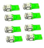 Cutequeen LED Car Lights Bulb Green T10 5050 5-SMD 194 168 (pack of 8)