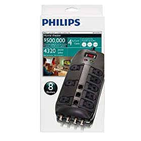 Philips SPP1135WA 8-Outlet Home Theater Surge protector (Black)