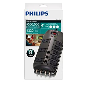 417e02WoVPL. SL500 AA300  Philips SPP1135WA 8 Outlet Home Theater Surge protector   $15 Delivered
