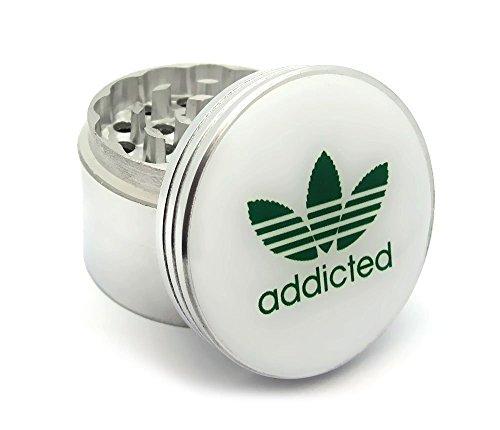 Four-Piece-Marijuana-Addicted-Logo-Herb-Spice-or-Tobacco-Pollen-Aluminum-Grinder