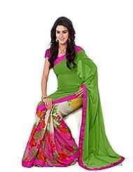 Inddus Exclusive Women Beautiful Green N Pink Georgette Printed Saree