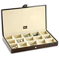 Urby Men's Leather Cufflink Box (15 compartments) - Chestnut Brown
